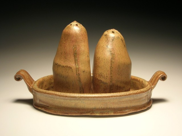 Salt and Pepper shakers with tray