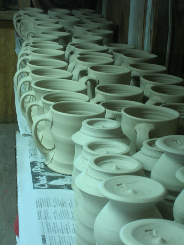 Potters always eventually understand patience. Taking the slow time it requires for pots to set up, and then the further activity of forming and applying handles, or cutting feet means that if you didn't know patience before, this will teach it to you!