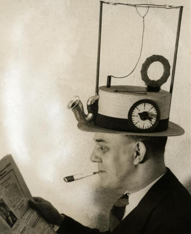 Radio hat Portable radio in a straw hat, made by an American inventor in 1931 Courtesy http://www.brainpickings.org/index.php/2012/03/21/strange-invetions/
