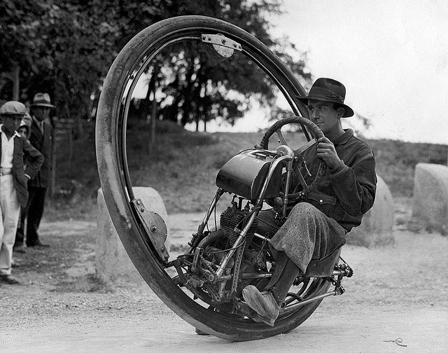 One-wheel motorcycle Germany 1925 Courtesy http://www.brainpickings.org/index.php/2012/03/21/strange-invetions/