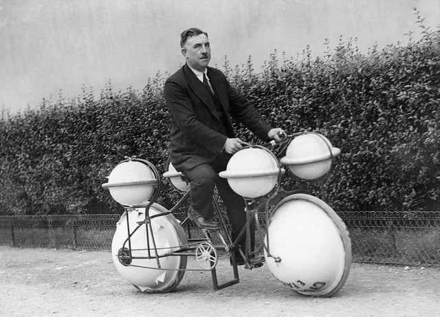 Amphibious bicycle This land-and-water bicycle can carry a load of 120 pounds Paris 1932 Courtesy http://www.brainpickings.org/index.php/2012/03/21/strange-invetions/