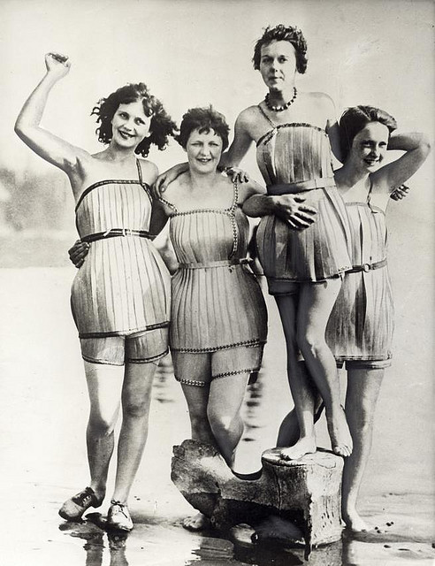 Wooden bathing suits Supposed to make swimming a lot easier Hoquiam, Washington, USA, 1929