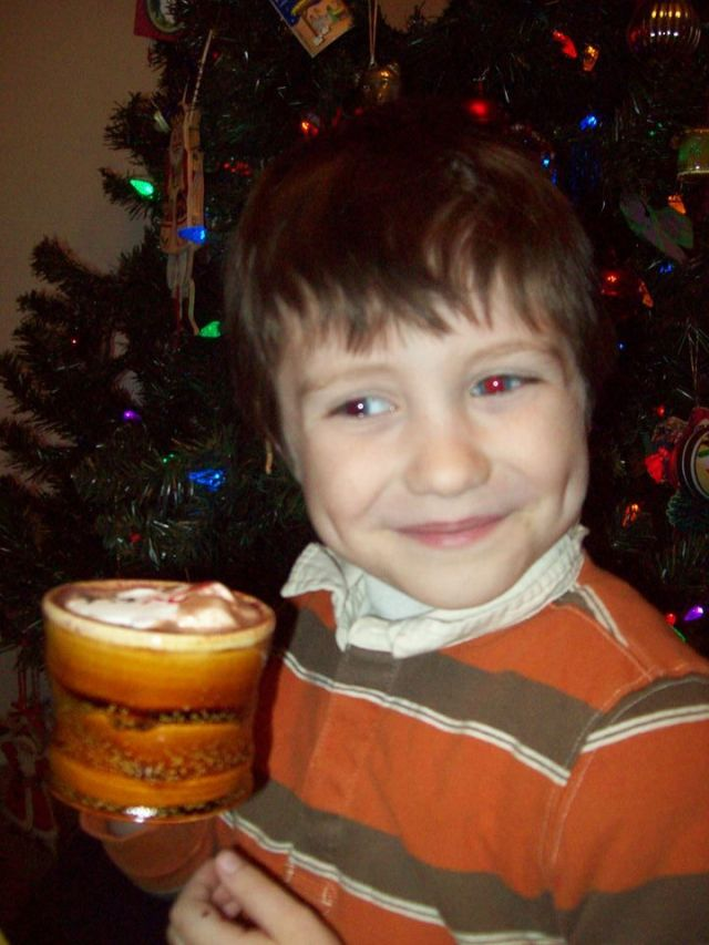 My friend's son Alex enjoys a hot cocoa in his new mug