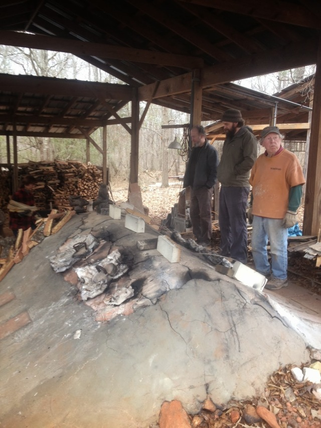 Tony Clennell's picture of me, Kyle Jones, and Ron Meyers checking cones and watching Judith Duff and Steve Driver stoke the kiln.