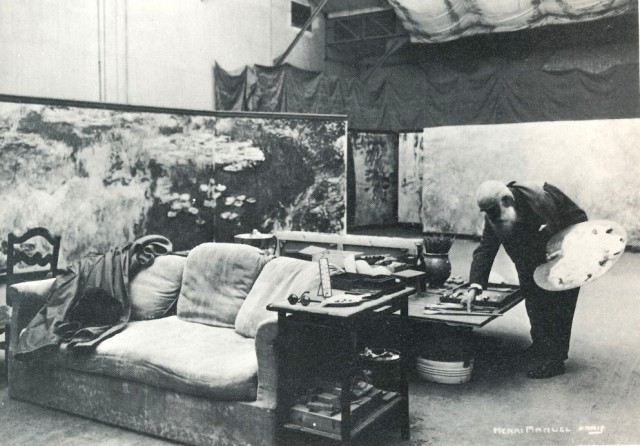 Claude Monet's rather spartan and streamlined studio, as yet unknolled