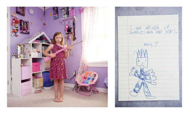 This young recruit poses with her gun and her creative space. Image courtesy of An-Sofie Kesteleyn from her series 'My first rifle'.