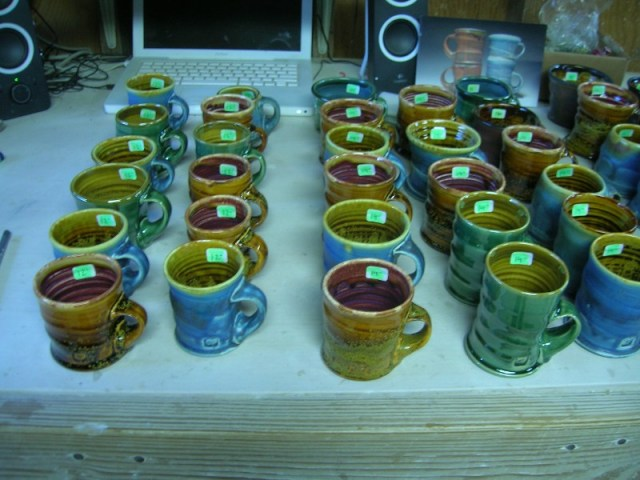 Yes, those are mini mugs for my kids section, priced at $12-16 which kids can then get at half off. It almost feels like I'm giving them away at that price, but I'm always glad to get pottery in the hands of young people who can then grow up being familiar with handmade pots.