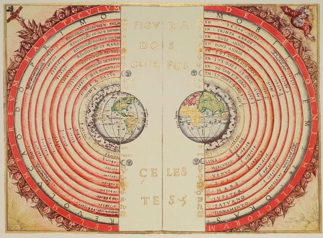 An illustration of the Ptolemaic geocentric system by Portuguese cosmographer and cartographer Bartolomeu Velho, 1568 (Bibliothèque Nationale, Paris)